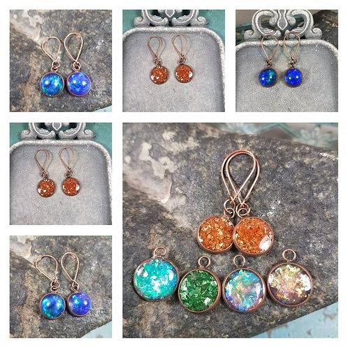 Memorial Ash Copper Drop Earrings/Cremation Earrings Pet Memorial Jewelr