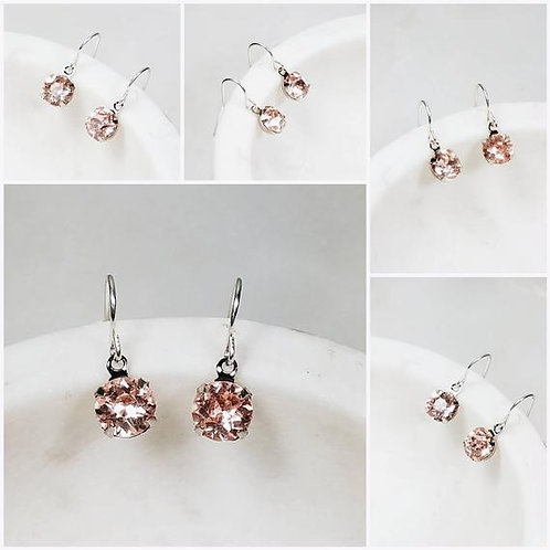 Studiodragonfly19 Cremation Vintage Roseline Pink Glass Stone Memorial Earrings