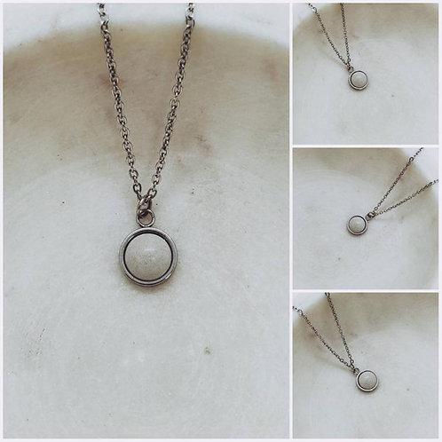 Memorial Ash Concrete Round Stone Necklace/Cremation Necklace/Pet Memorial