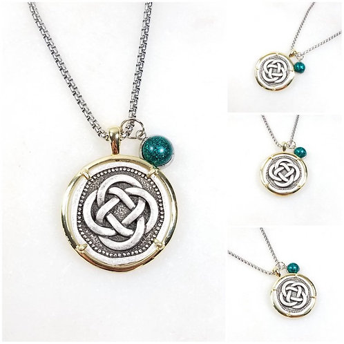 Memorial Ash Silver Plated Celtic Knot Pendant Necklace /Cremation Necklace/Pet