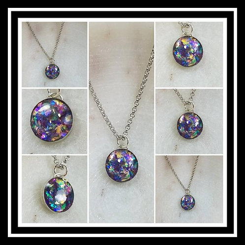Memorial Ash Sterling Silver Round Bezel Necklace/ Memorial Ash JewelryPet Memor