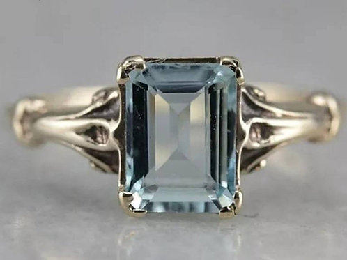Studiodragonfly19 Memorial Ash 10k Yellow,Rose,White Gold Aquamarine CZ Ring