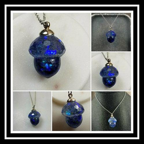 Memorial Ash Faceted Acorn Necklace/Cremation Pendant/ Pet Memorial Jewelry/ Mem