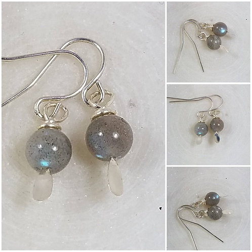 Studiodragonfly19 Memorial Ash Labradorite Sterling Silver Cremation Earrings/Me