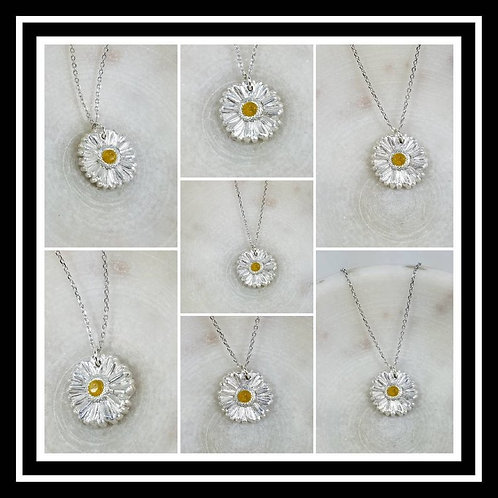 Gerber Daisy Memorial Ash Pendant Necklace/Precious Pure SilverFlower Pendant Ne