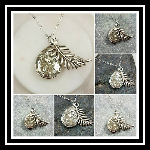 Memorial Ash Tear Drop Fern Charm Pendant Necklace/Cremation Pendant/Pet Memoria