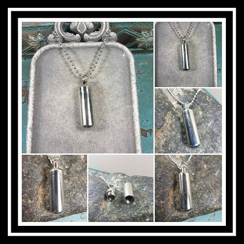 Memorial Ash Stainless Steel Cremation Urn Necklace/2 chain options/Urn/Crematio