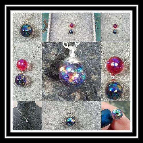 Glass Drop Memorial Ash Necklace /Memorial Pendant /Pet Memoria/ Pet Ash Jewelry