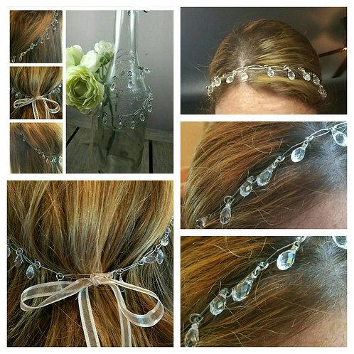 Cremation Memorial Crystal Tear Drop Halo Hair Piece/ Wedding Halo/Flower Girl