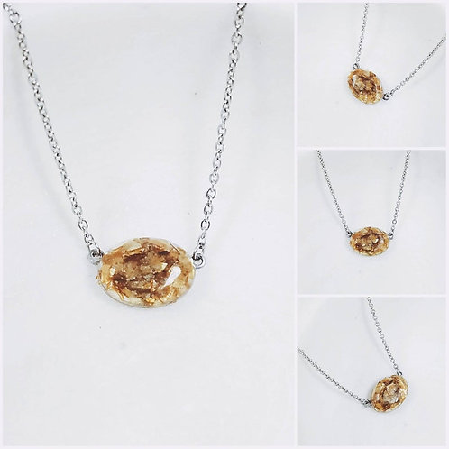 Memorial Cremation Faceted Oval Ash Pendant Necklace/ Pet Memorial/ Cremation Je
