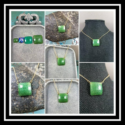 Square Sterling Silver or Gold Filled Memorial Ash Faceted Necklace/Cremation Pe
