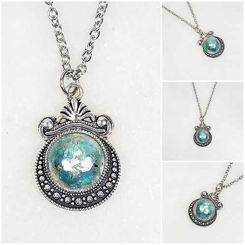 Memorial Ash Art Deco Necklace/Cremation Pendant/ Pet Memorial Jewelry/ Memorial