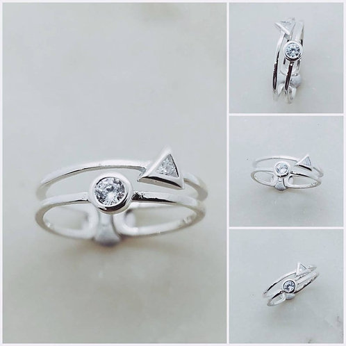 Studiodragonfly 19 Memorial Cremation Ash Minimalist Sterling Silver CZ Double