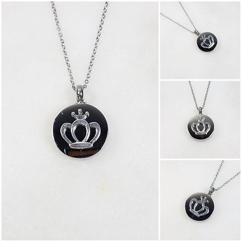 Memorial Ash Stainless Steel Cremation Round Crown Urn Necklace/Cremation Pendan