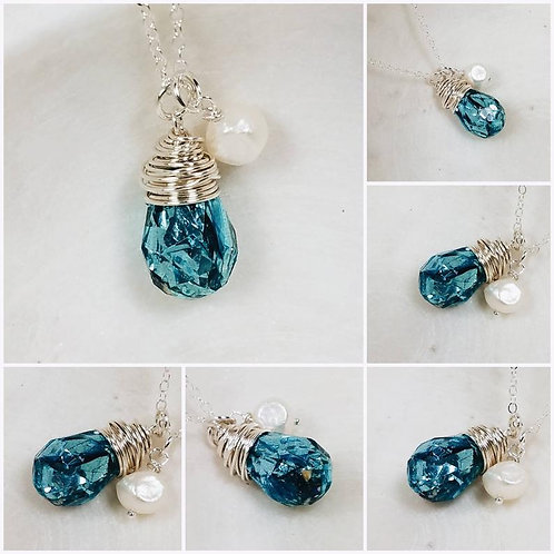 Memorial Ash Faceted Crystal Pearl Pendant Necklace/Cremation Memorial Necklace/