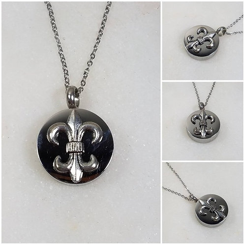 Memorial Ash Stainless Steel Cremation Fleur di Lis Urn Necklace/Cremation Penda