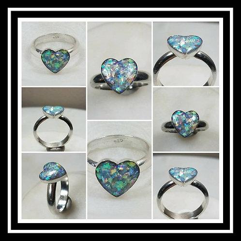 Memorial Ash Sterling Silver Heart Ring/Memorial Ring/Cremation Ring/Pet Memoria