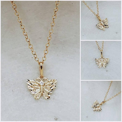 Studiodragonfly19 Cremation 14k Yellow Gold CZ Butterfly Memorial Ash Pendant