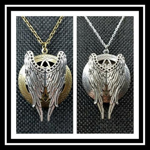 Memorial Ash Bronze or Silver Angel Wing Locket Pendant Necklace