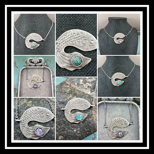 Koi Fish Memorial Ash Pendant/Memorial Ash Jewelry/ Pet Memorial Ash Pendant/Cre