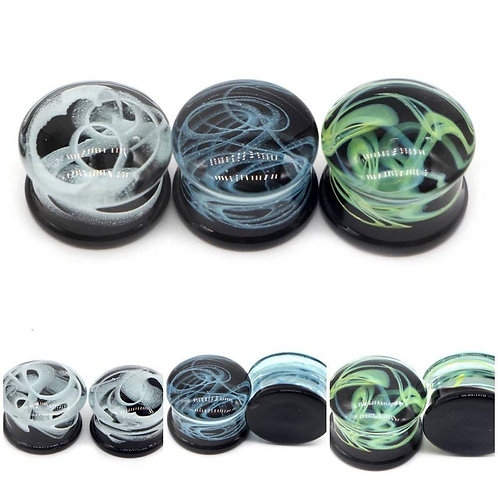 Cremation Memorial Ash Natural Glass Tunnle Ear Plugs Piercing/Memorial Jewelry