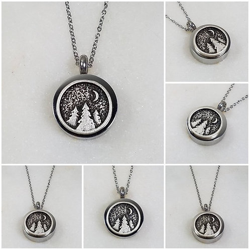 Memorial Ash Stainless Steel Cremation Tree Moon Urn Necklace/Cremation Pendant/