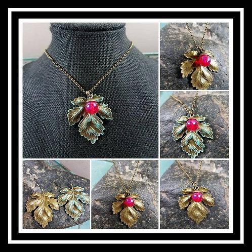 Memorial Ash Bronze Patina Maple Leaf Pendant Necklace/Cremation Pendant/ Pet Me