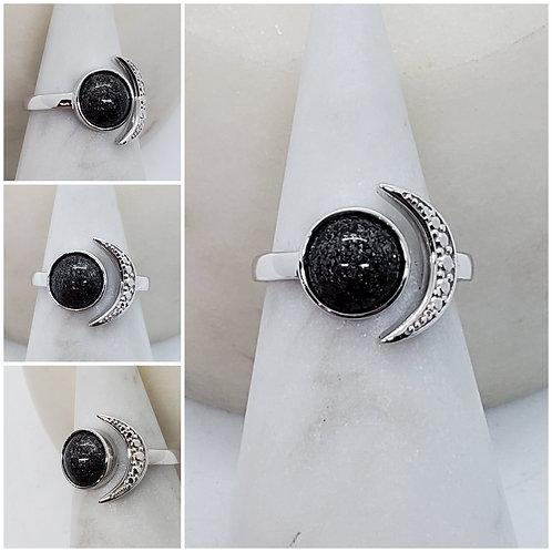 Memorial Ash 10k Gold Moon Ring/Memorial Ring/Cremation Ring/Pet Memorial