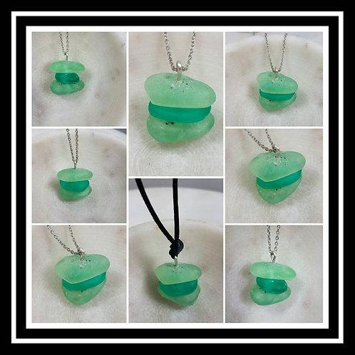 Memorial Ash Beach Glass Stacking Pendant Necklace/Cremation Memorial Ash Pendan