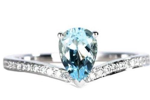 Studiodragonfly19 Gem Stone Memorial Ash Solitare 14kt Blue Topaz Diamond Ring
