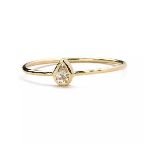 Studiodragonfly19 Memorial Ash Minimalist 10k Gold Pear Cut Cubic Zirconia Ring/