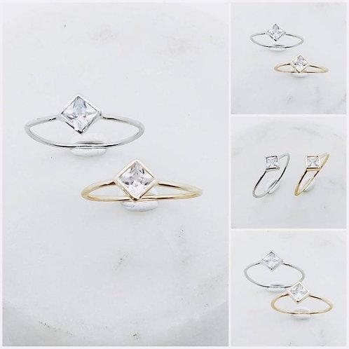 Studiodragonfly19 Memorial Ash Minimalist 10k Gold Princess Cut CZ Ring