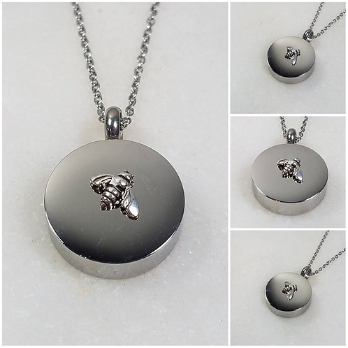 Memorial Ash Stainless Steel Sterling Silver Bee Cremation Urn Necklace/Crematio
