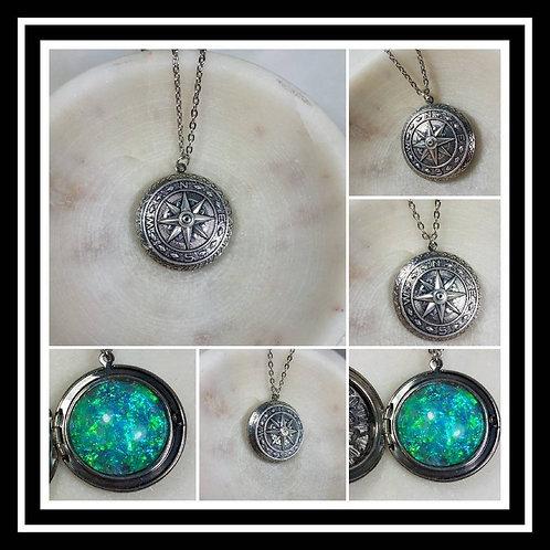 Memorial Ash Compass Locket Pendant Necklace/Cremation Pendant/Pet Memorial Jewe