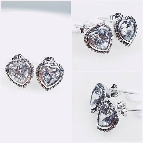 Studiodragonfly19 Cremation Heart Sterling Silver CZ Stone Earrings/ Memorial As