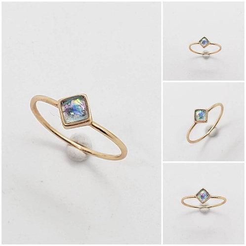Memorial Ash Minimalist 10k Gold Square Cut Ring/Memorial Ash JewelryPet