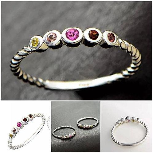 Studiodragonfly19 Memorial Ash Sterling Silver Tourmaline Stone Bezel Ring