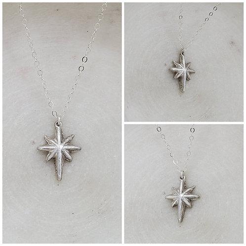 Memorial Ash Pure Silver North Star Pendant Necklace