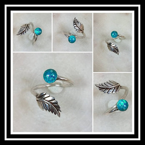 Memorial Ash Sterling Silver Leaf Wrap Ring /Memorial Ash Cremation Ring/Pet Mem