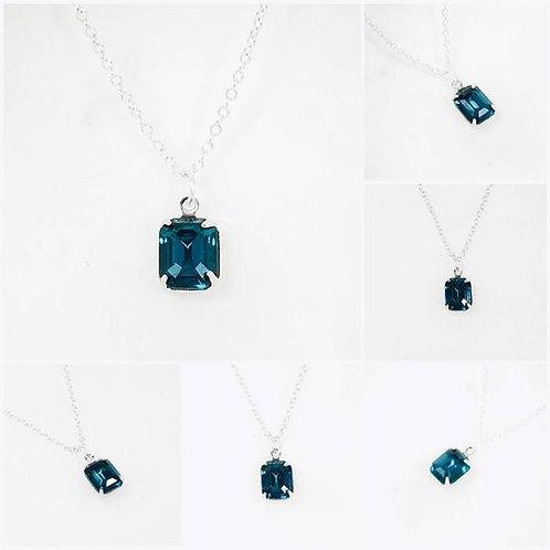 Studiodragonfly19 Cremation Vintage Blue Glass Stone Memorial Ash Pendant