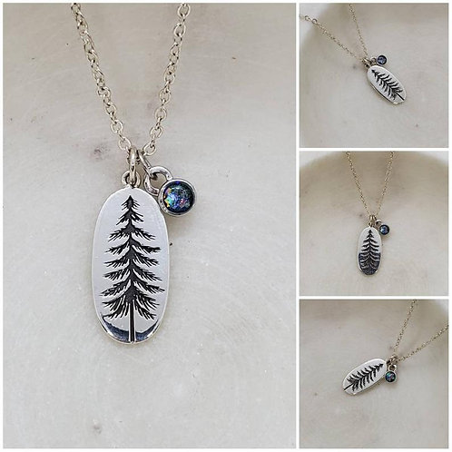 Memorial Ash Sterling Silver Pine Tree Sterling Silver Charm Pendant Necklace/