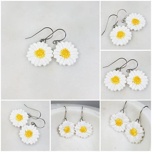 Memorial Ash Cremation Ceramic Daisy Earrings /Cremation Necklace/Pet Memorial J