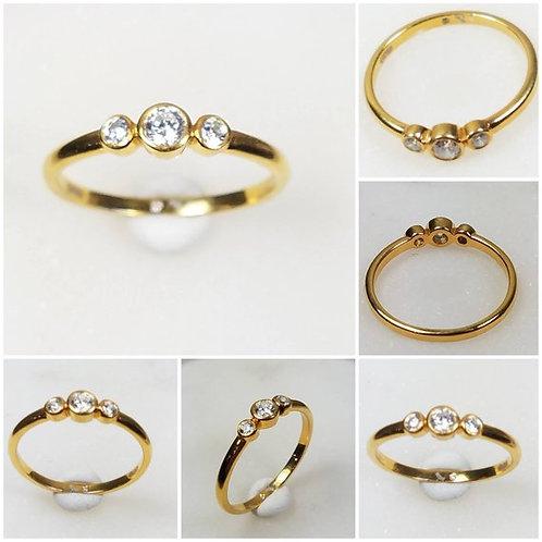 Studiodragonfly 19 Memorial Cremation Ash Minimalist 10k Gold CZ Bezel Ring