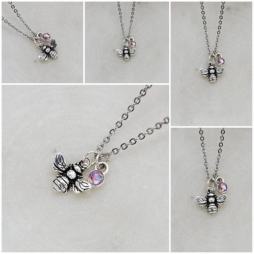 Memorial Ash Sterling Silver Bee and Cremation Charm Pendant Necklace/ Memorial