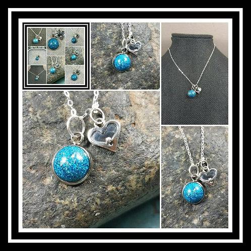 Memorial Ash Paw,Heart,Wing Charm Memorial Jewelry/Ash Necklace/Pet Memorial/ Cr