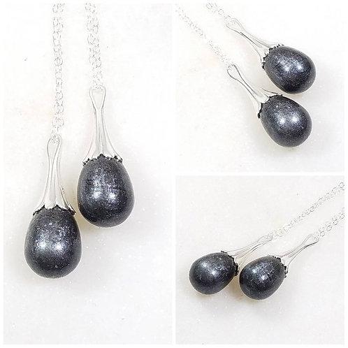 Memorial Ash Sterling Silver Drop Necklace/Cremation Pendant/ Pet Memorial Jewel