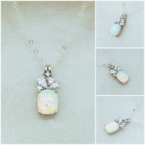 Studiodragonfly19 Cremation Sterling Silver Opal Stone Memorial Ash Necklace