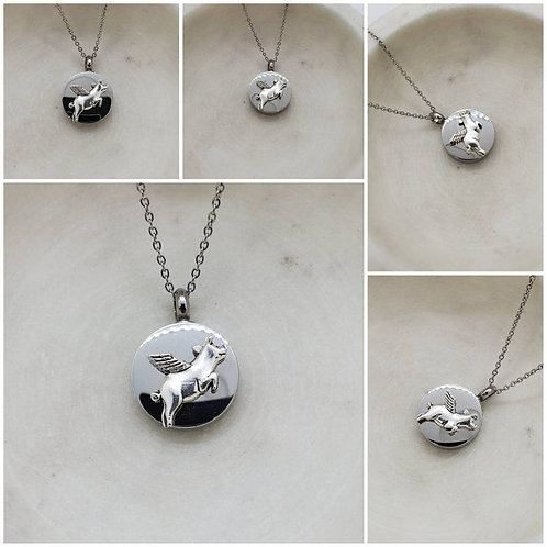 Memorial Ash Stainless Steel Cremation Round Winged Pig Urn Necklace/Cremation