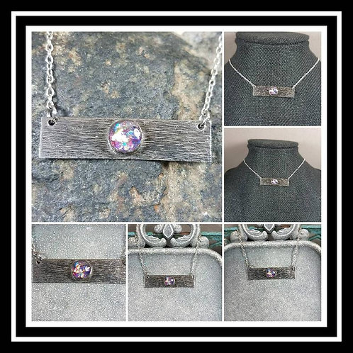 Sterling Silver Bezel Bar Memorial Pendant/ Ash Memorial Necklace/Pet Memorial/C
