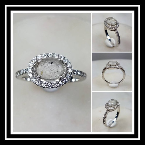 Memorial Ash Solitare Oval 10kt White Gold Diamond Cremation Ring /Memorial Ash